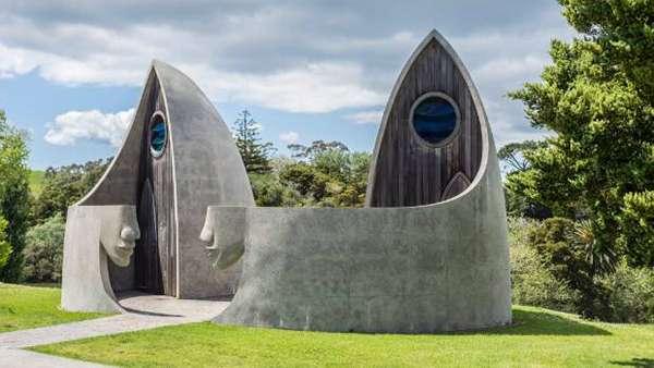 紐西蘭,瑪塔卡納,碼頭保護區_斯蒂凡‧德‧哈恩設計的廁所是瑪塔卡納小鎮的知名地標。(圖/澎湃新聞提供)