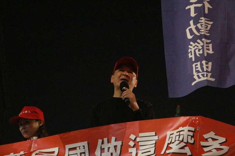 20180302-「為繆德生上校祈福晚會」,八百壯士成員發言。(陳韡誌攝)