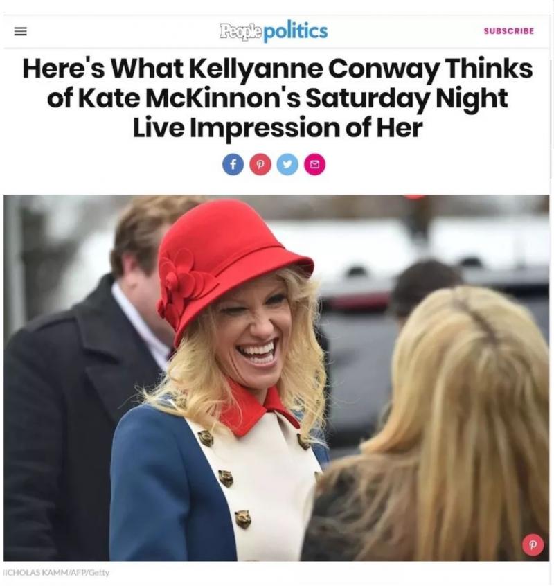 20180308-穿衣打扮既是展示地位、追求榮耀與博取歡心的遊戲,也是康維女士熱烈響應總統號召的一個舉動。 (作者提供,截圖取自PeoplePplitics)