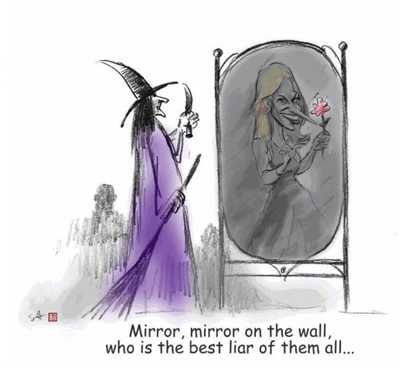20180308-漫畫康維:她製造「另類事實」的本事就像魔鏡一般神化。 (作者提供,漫畫作者:田召)