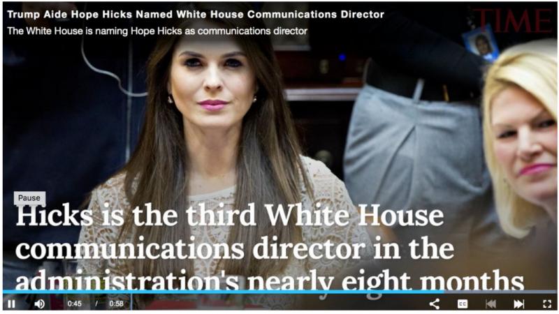 """20180308-據說,希克斯很善於學習,有很強的公關能力與適應能力,深受川普信賴,因此在短短幾年內實現政壇""""三級跳"""",從新聞秘書躍升到白宮通訊總監的位置。(作者提供)"""