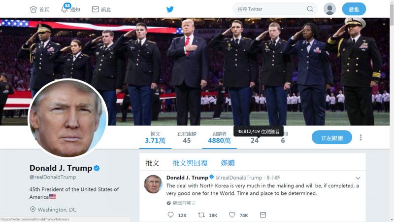 美國總統川普是推特上最多人追蹤的政治人物之一(Twitter)