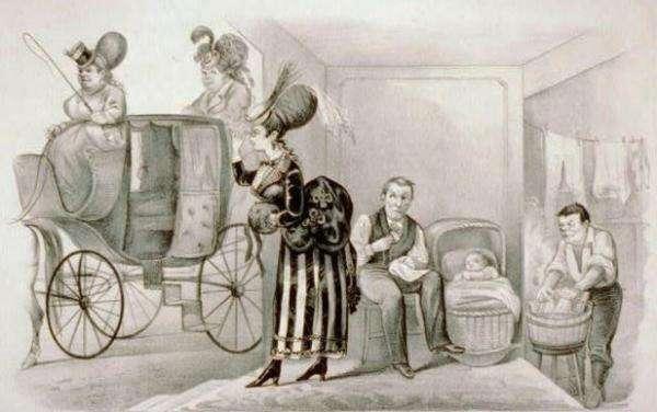 """1869年,""""美国女性投票权协会""""成立,一幅讽刺石版画探讨它的可能后果(圖/澎湃新聞)"""