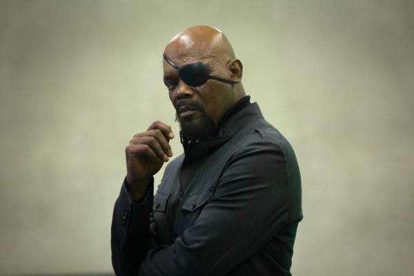 山謬傑克森飾演的尼克福瑞在《鋼鐵俠》片尾彩蛋中登場。(圖/澎湃新聞提供)