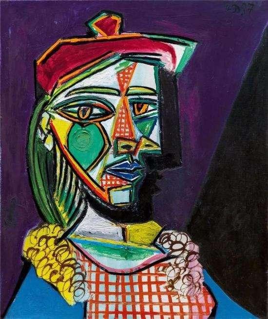 畢卡索《戴貝雷帽、穿格子裙的女子》,1937年(圖/澎湃新聞提供)