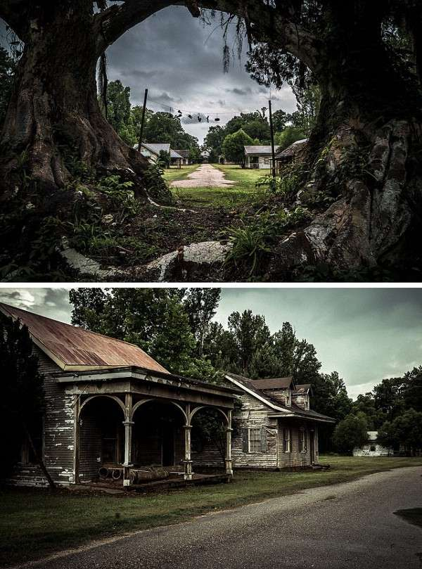 位於阿拉巴馬灣區島嶼上的「幽靈鎮」,它其實並非真正的幽靈鎮,提姆·波頓的《大智若魚》在此搭景拍攝,2003年攝製組離去後,留下整片農莊被大自然接管。本文圖片攝影均爲Johnny Joo/architecturalafterlife 圖(圖/澎湃新聞提供)