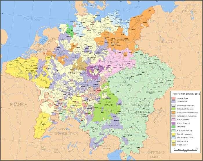 三十年戰爭打完之後,神聖羅馬帝國境內的新興主權國家。(來源:Wikipedia)