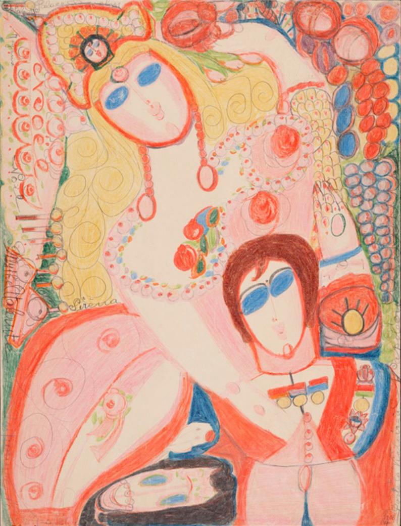 阿洛伊姿的作品《阿塔蘭忒的金蘋果》,創作於1946年。(圖/取自Collection de L'art Brut,澎湃新聞提供)