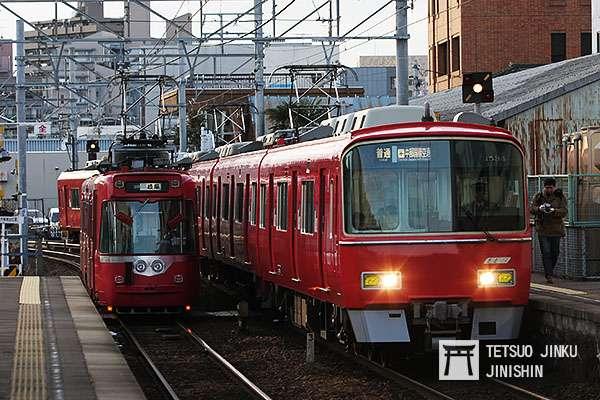 名古屋鐵道過去有路面電車開進一般鐵道線直通運轉的例子,不過在路面電車廢線後,這樣的特殊景象就消失了。(攝影:陳威臣)