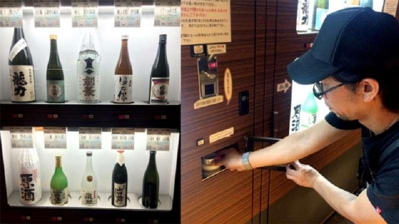 日本大阪的清酒販賣機。(旅遊網)