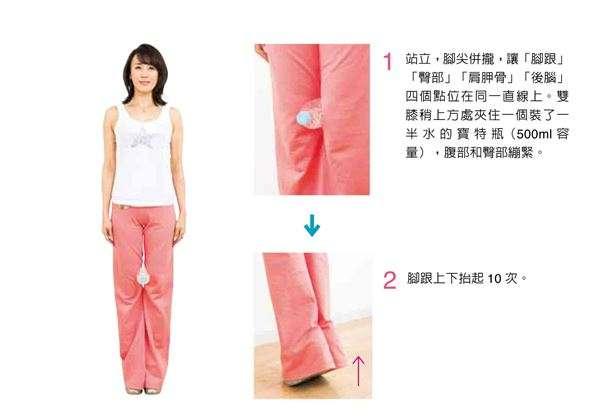 站立,腳尖併攏,讓「腳跟」、「臀部」、「肩胛骨」、「後腦」4個點位在同一直線上。雙膝稍上方處夾住一個裝了一半水的寶特瓶(500ml容量),腹部和臀部繃緊。(圖/華人健康網提供)