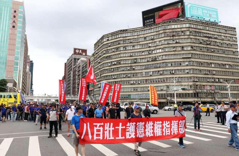 20180620_反軍改團體「八百壯士」下午繞行立法院周邊遊行。(蘇仲泓攝)