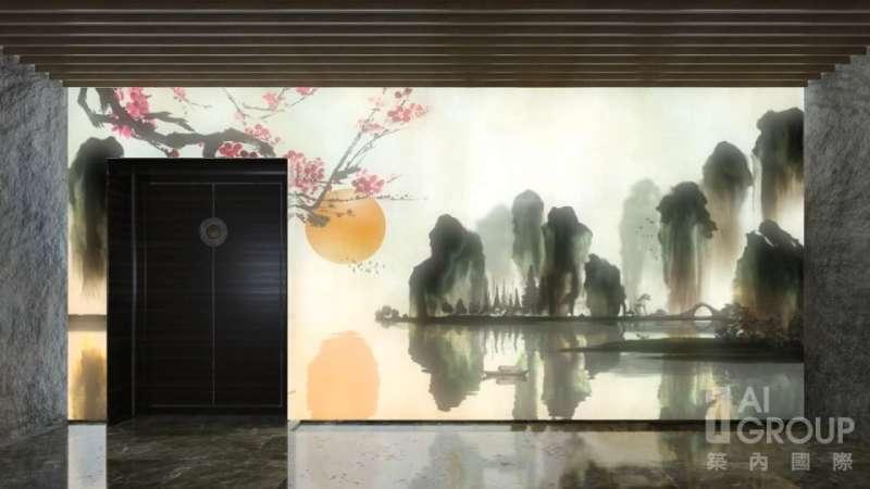 入口玄關的LED螢幕以動態畫面營造詩情畫意的氣氛,並隨著外在天氣有所轉變。(圖/築內國際)