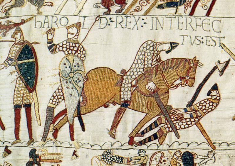 巴約掛毯,這個部分描繪哈羅德二世戰死(Wikipedia/Public Domain)
