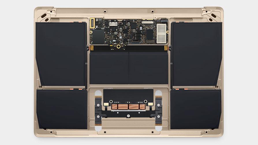 超小主機板與塞滿機身的電池。(蘋果官網)