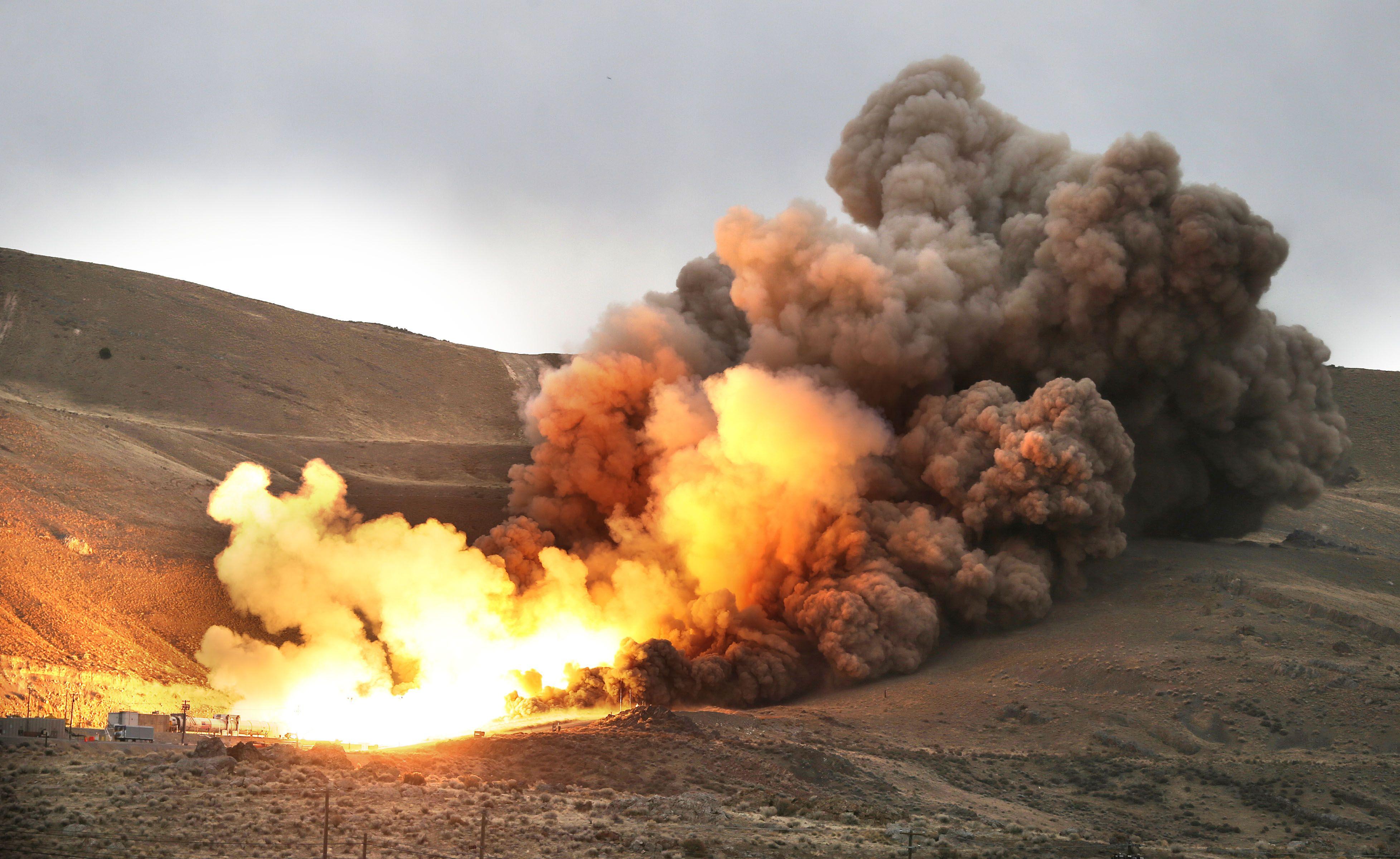 SLS推進器11日進行測試。(美聯社)