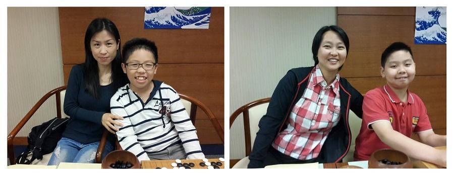 賴均輔(左二)與媽媽、余炳葟(右一)與媽媽。