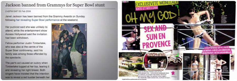 珍娜傑克森(Janet Jackson)和賈斯汀(Justin Timberlake)2004年超級盃表演意外光、威廉王子之妻凱特日光浴照片外流,都引發極大輿論風波,紀錄片《TOPLESS SHOCK SYNDROME》截圖