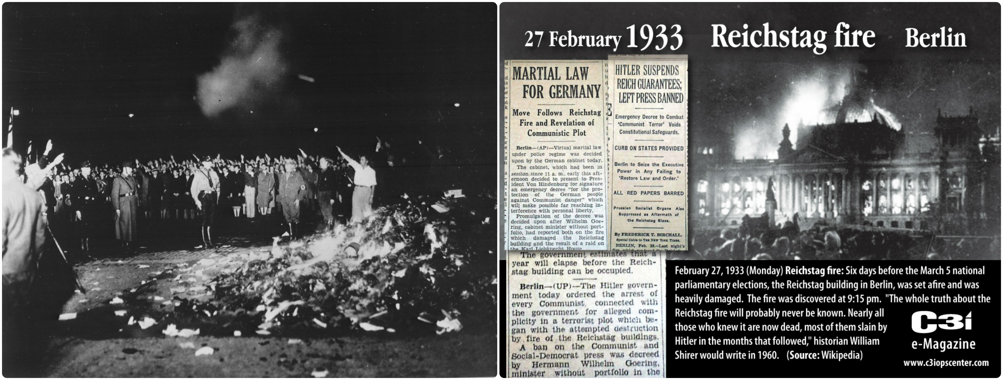 1933年政壇崛起的希特勒曾經發動全國焚書運動運動(左),當年亦策畫燒毀國會(右)