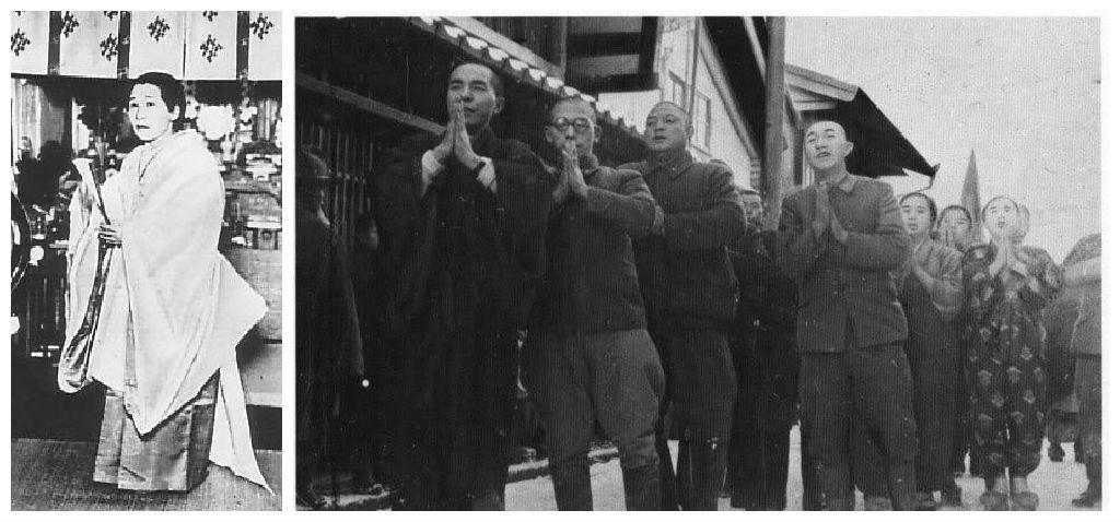 自封「璽光尊」的長岡良子(左),吸引相撲橫綱雙葉山定次(右圖左三)、吳清源等大批信徒。