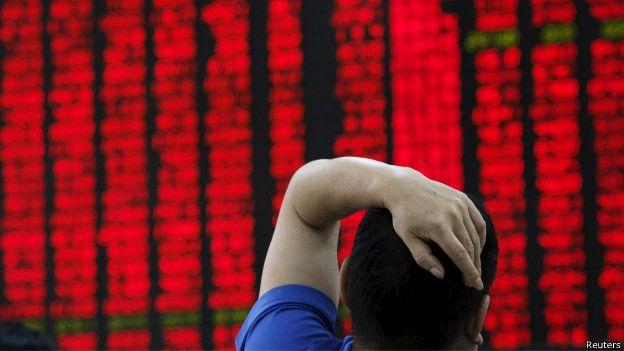 在三周當中中國股市蒸發了近3萬億美元市值。(BBC中文網)