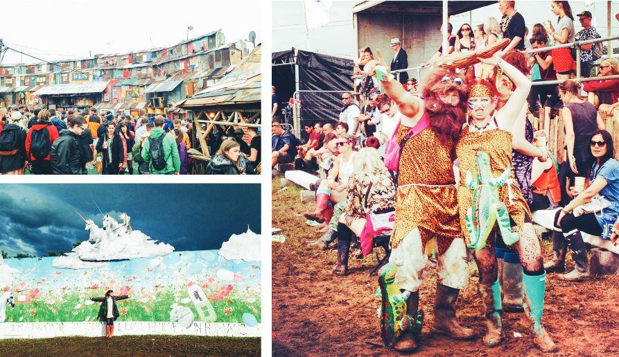 左上/廢棄的鐵皮屋組成巨型裝置,這裡進行著雷鬼 Party ,在自由的音符下,我們待了好久。 左下/ 大面積藝術塗鴉俯拾即是, Riin 融入在美麗的原野前。 右/ Glastonbury  Festival 中打扮成摩登原始人的群眾。