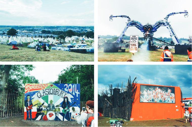 左上/在山坡幾乎可以眺望 Glastonbury Festival 全區景觀,錯落的白色帳篷提供表演團隊租用與休息。 右上/ 音樂節中最具代表性的巨型裝置,特殊的大蜘蛛造型藏了許多機關,頭頂是 DJ臺,腳上的光束在夜裡四射。