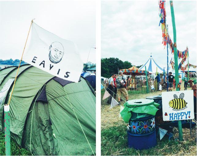 左/夜晚視線不清,參與者為了標示自己的帳篷,而製作旗幟插在門前,相當可愛。 右/ 連垃圾桶上都有幽默的藝術插畫。