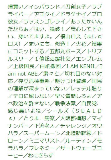 日本2015年「新語‧流行語大賞」入選作品。(翻攝U-CAN新語‧流行語大賞官網)