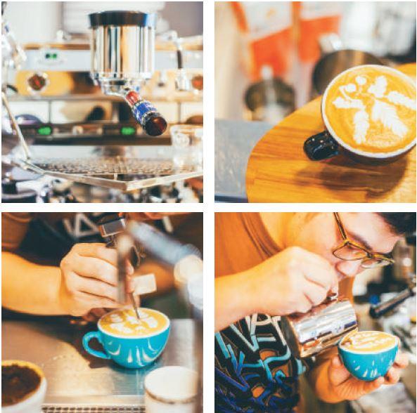 (左上)將咖啡機由裡到外維持乾淨、光亮,是一項重要的儀式。 (右上) 融入臺灣本土 意象的寬尾鳳蝶拉花。 (左下) 以勾、雕將拉花圖案更細緻化。 (右下) 用鋼杯晃出圖案,是拉花的最基本功。