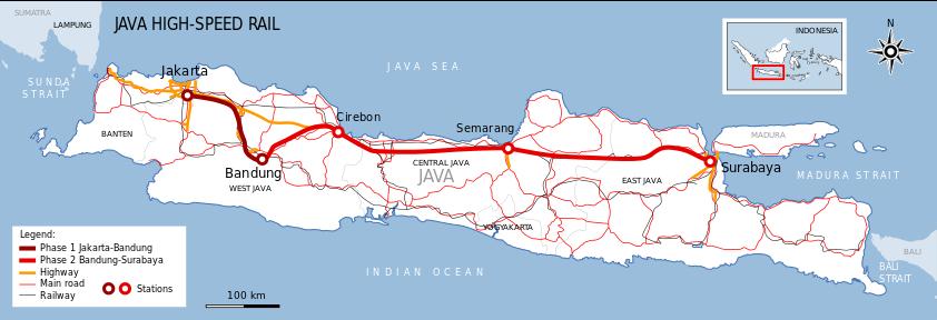 印尼首條高鐵:連接首都雅加達和西爪哇省萬隆市的雅萬高鐵。(維基百科)