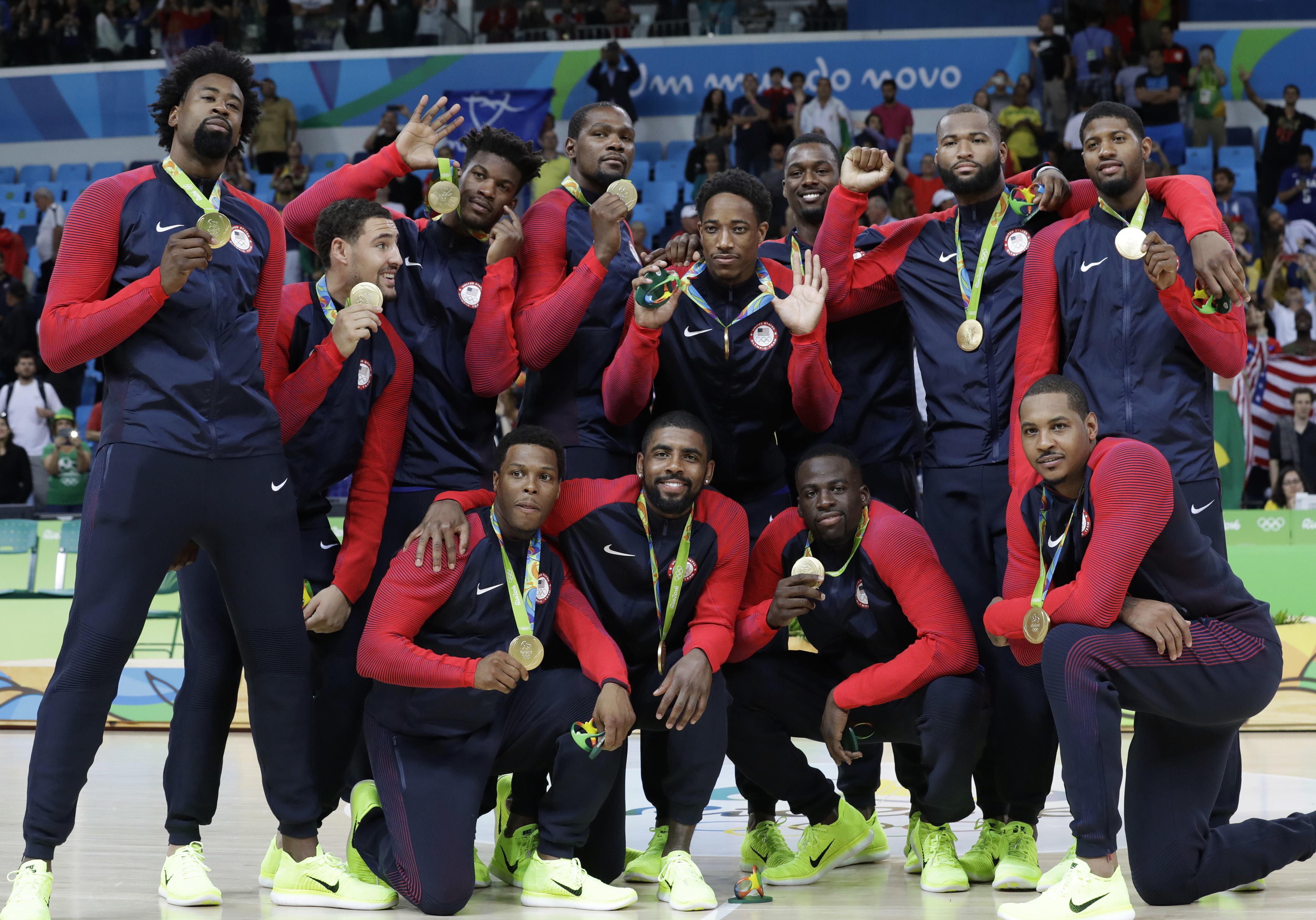 美國男籃如願摘下里約奧運金牌。(美聯社)