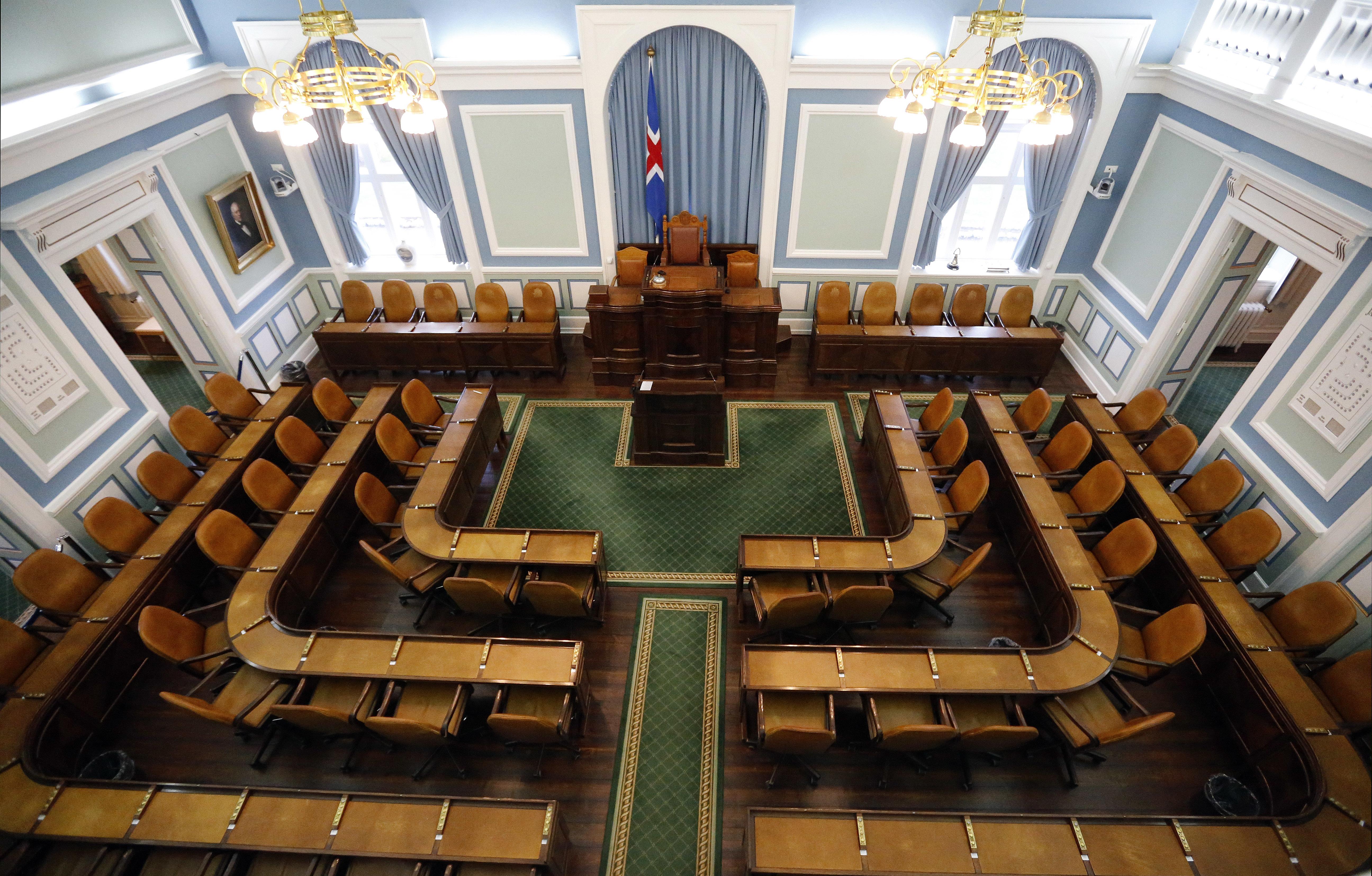 冰島國會的63個席位。(美聯社)