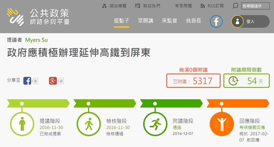 網友在「公共政策網路參與平台」提案,目前已進入等待政府回應階段。(取自公共政策網路參與平台)