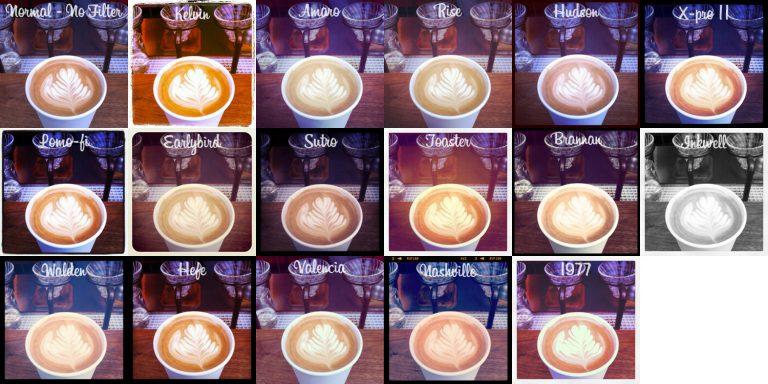 Instagram的各種不同濾鏡 (圖片/wikipedia)