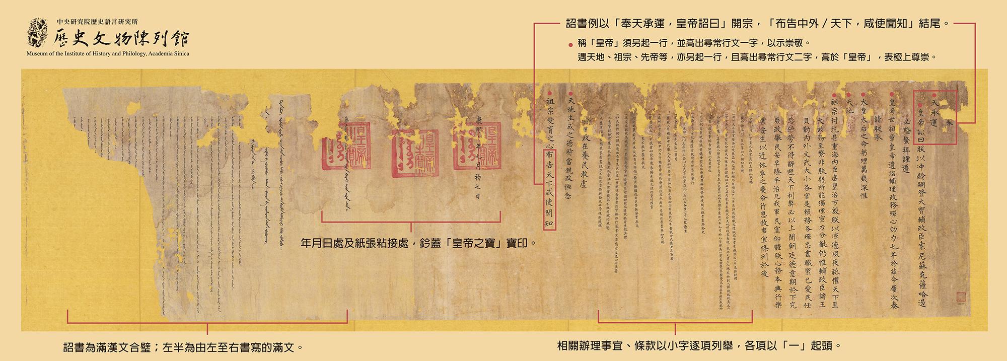 清朝詔書的滿漢合璧寫法,左側是滿文,右側是漢文(圖/研之有物提供)