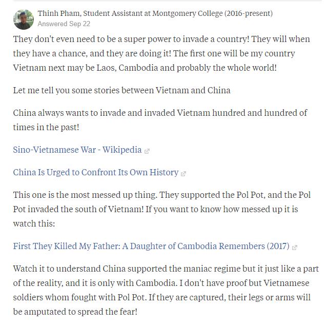 中國成為唯一超級強權會侵略哪些國家?網友范盛認為越南會第1個遭殃(翻攝網路)