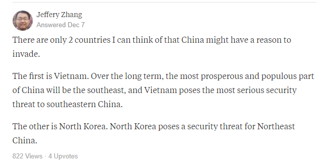 中國成為唯一超級強權會侵略哪些國家?網友傑佛瑞.張認為越南和北韓都會被侵略(翻攝網路)