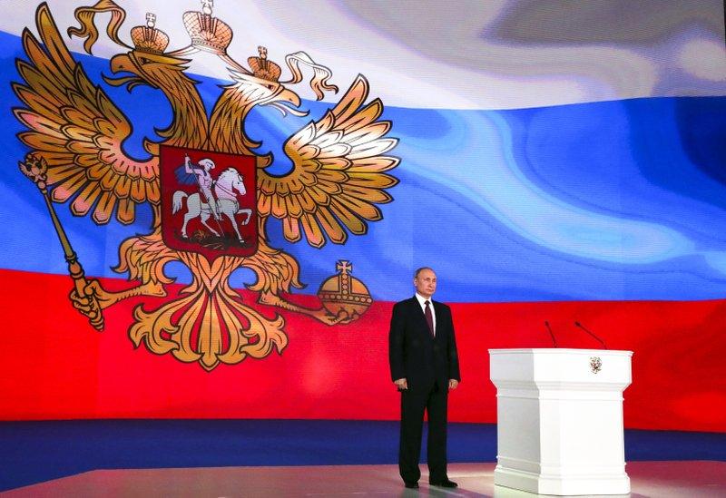 俄羅斯總統普京1日發表年度演說,大秀俄羅斯武力。(AP)
