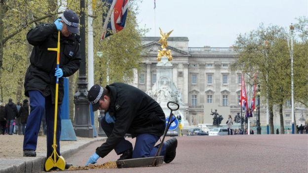 兩名警察在白金漢宮前維護治安。(BBC中文網)