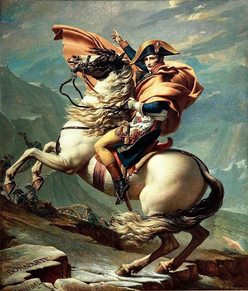 畫家雅克.路易.大衛(Jacques-Louis David)1801年完成的畫作「拿破崙翻越阿爾卑斯山」。(Wikipedia / Public Domain)