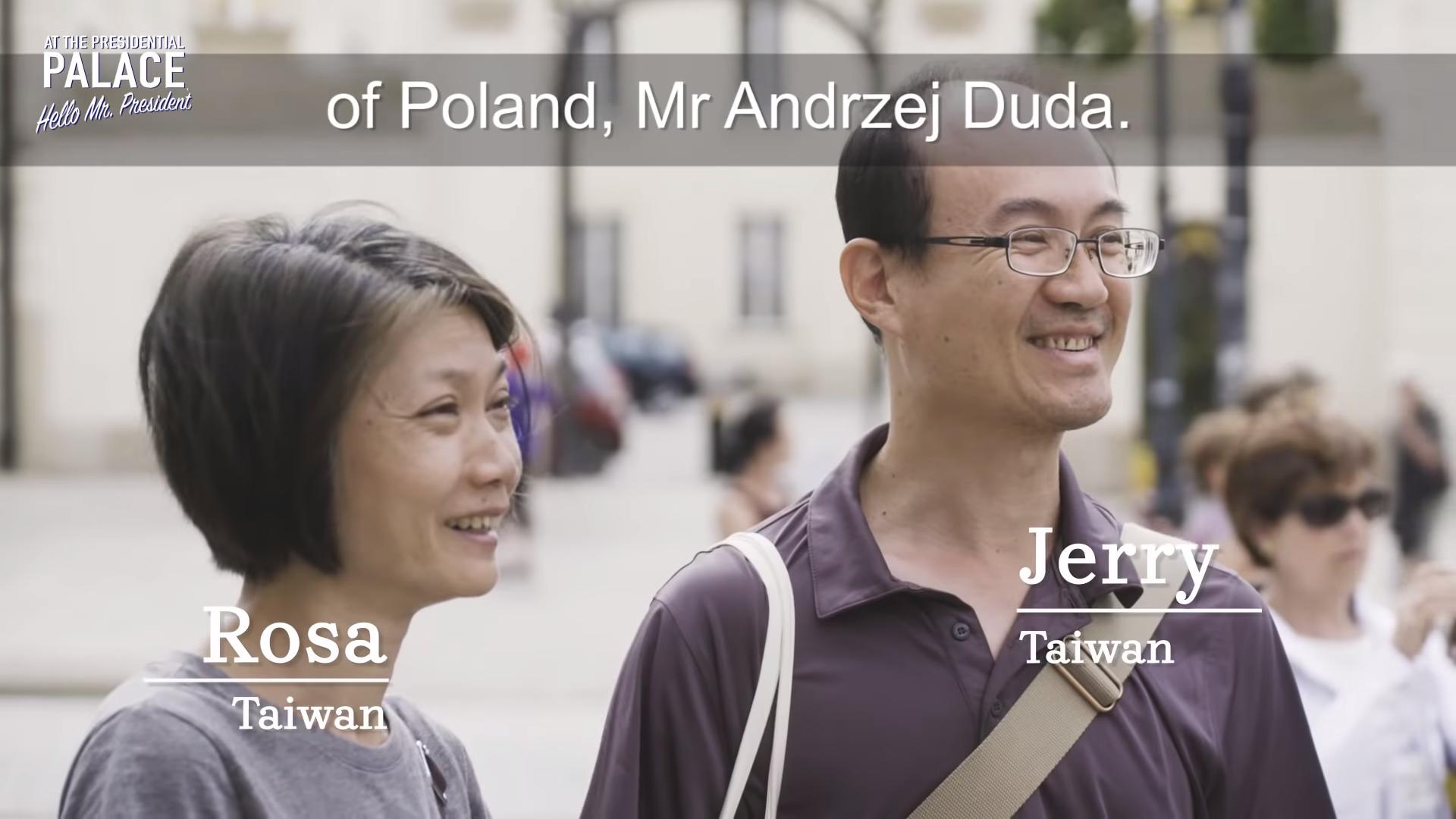 波蘭宣傳國家出新招,邀請觀光客與總統杜達一起下午茶,2名台灣人幸運被選中(翻攝影片)