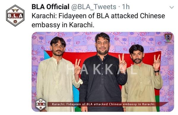 2018年11月23日,中國駐巴基斯坦總領事館發生恐怖攻擊,俾路支解放軍(Balochistan Liberation Army)宣稱犯案,貼出3名嫌犯的照片。(Twitter/ BLA Official)
