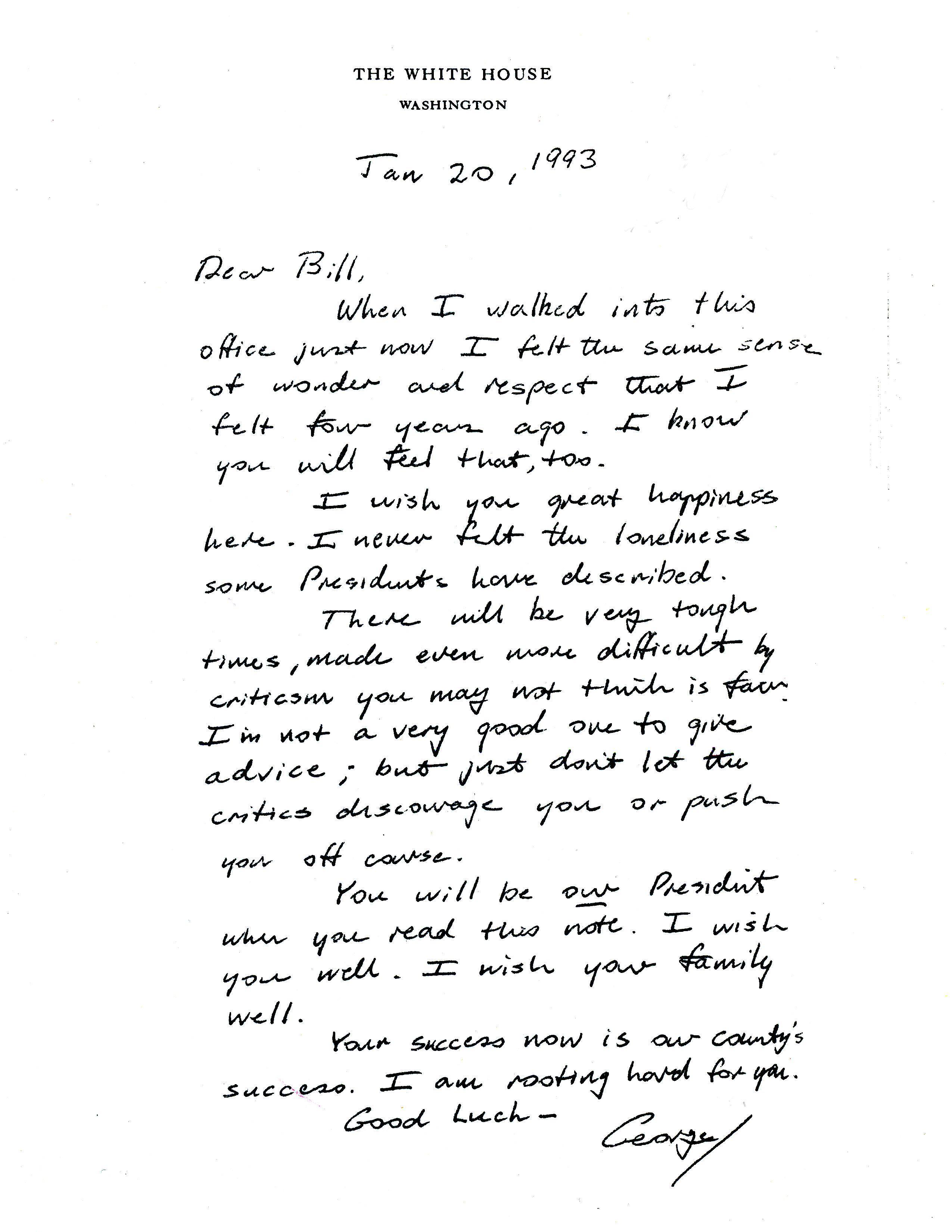 美國前總統老布希卸任時,留給繼任者柯林頓的信件內容(AP)