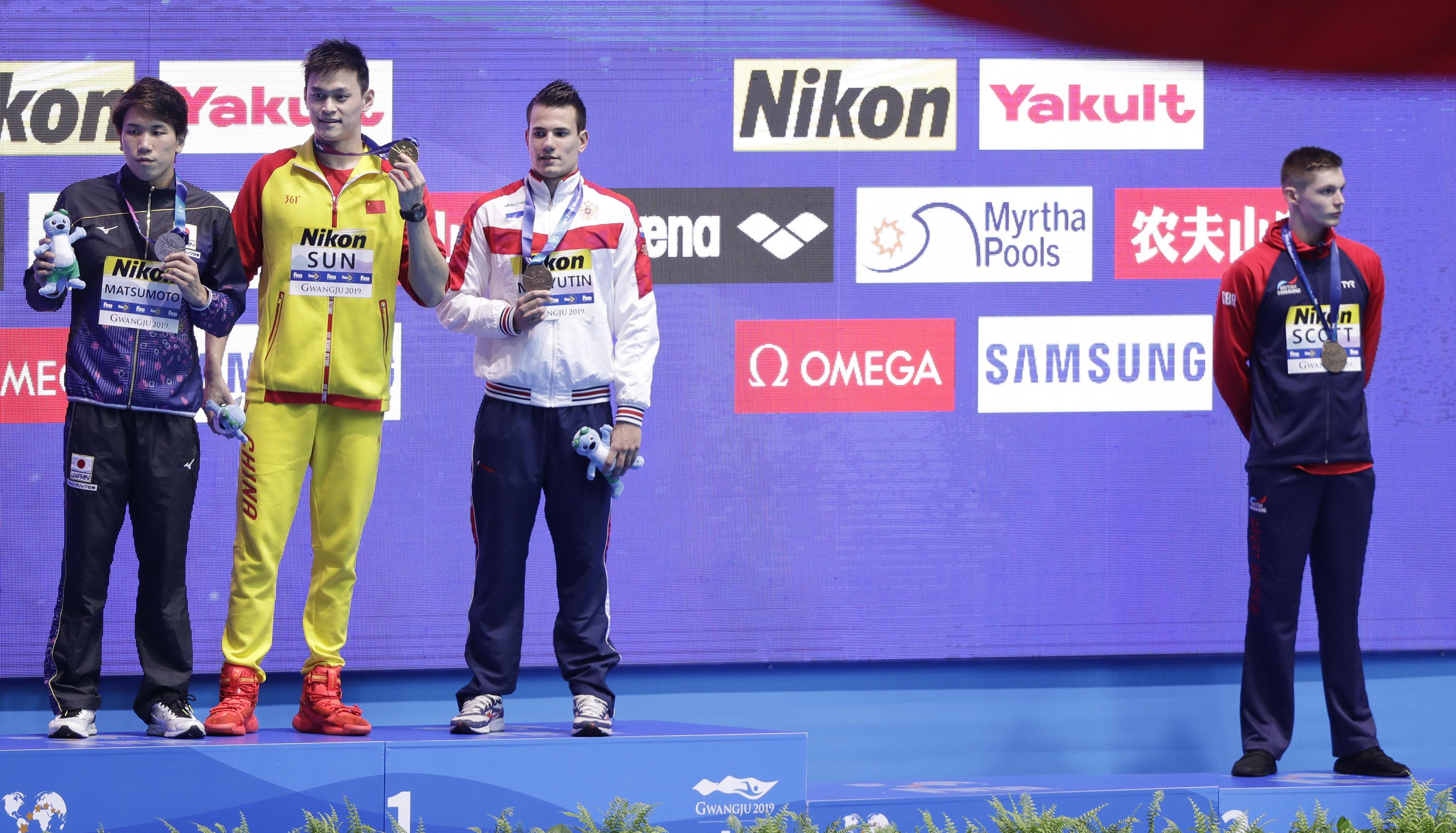 2019世界游泳錦標賽:英國選手史考特拒與有禁藥黑歷史的中國選手孫楊同台(AP)