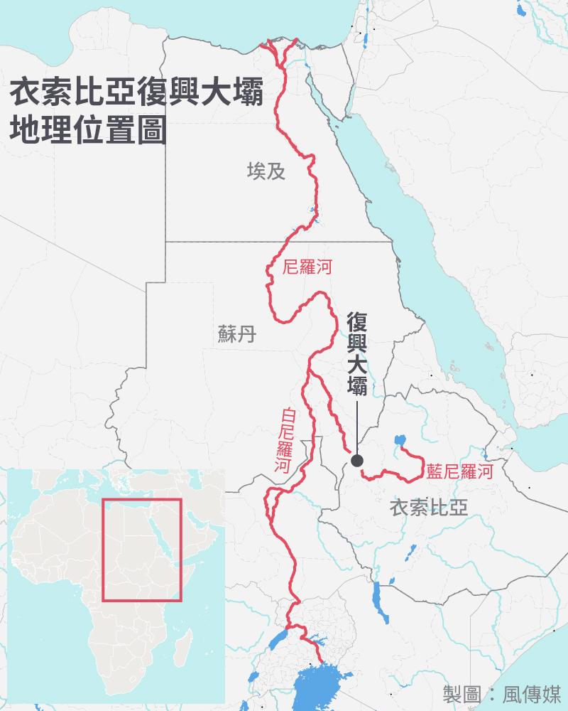 衣索比亞復興大壩地理位置圖(風傳媒製圖)