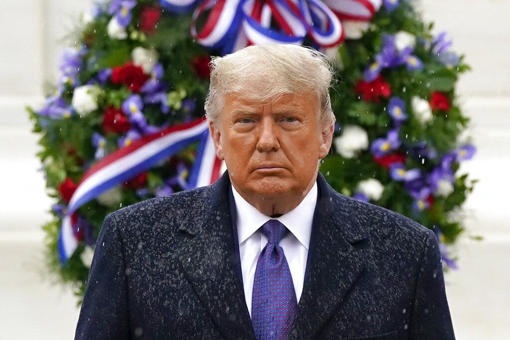 美國總統川普11日參加在維吉尼亞州阿靈頓國家公墓的退伍軍人紀念儀式。(美聯社)