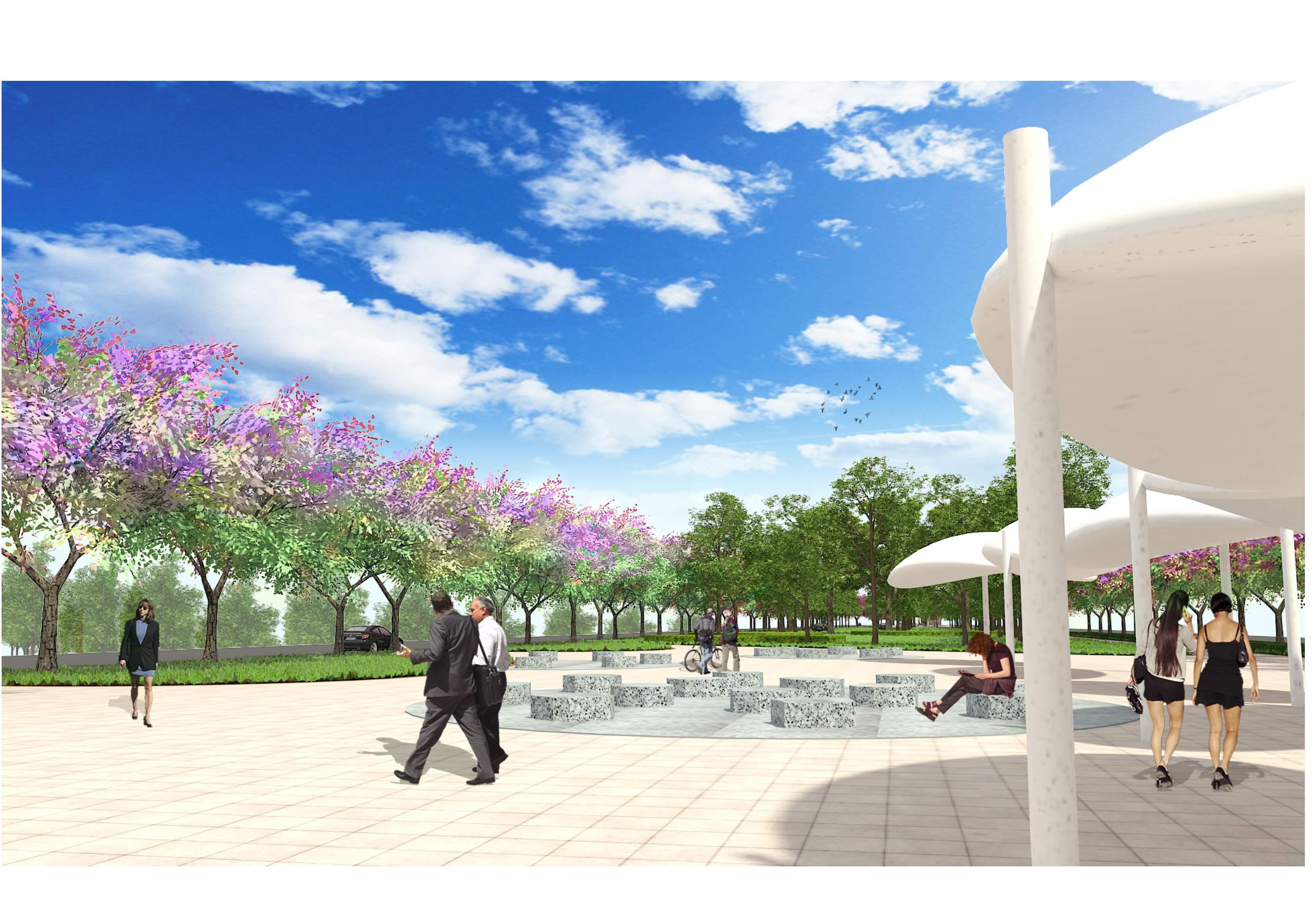 鳳山計畫區綠園道工程完工示意圖。(圖/高雄市政府提供)