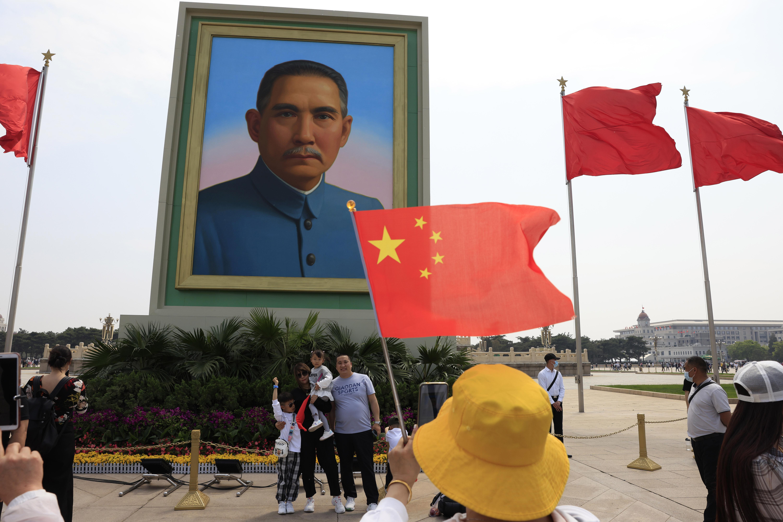 中國,北京,天安門廣場,孫中山肖像(AP)