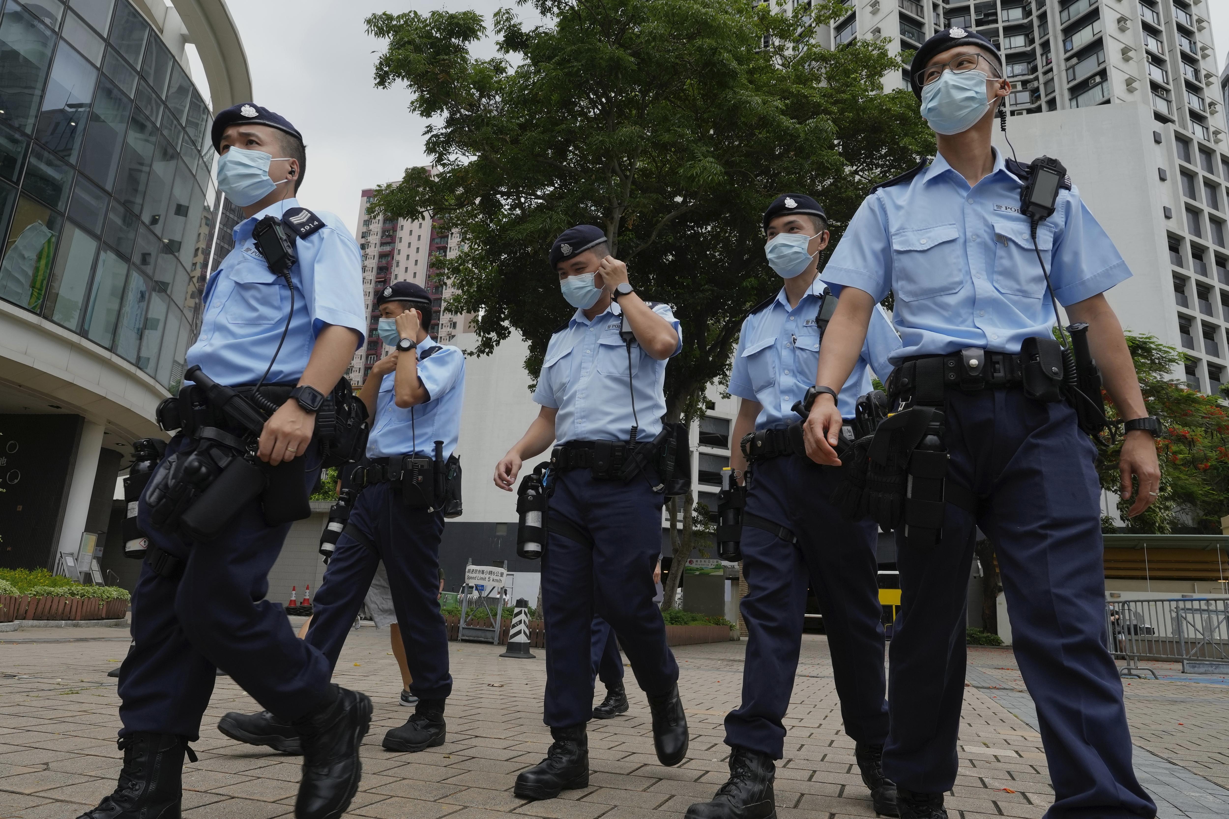 2021年6月4日,六四事件、天安門大屠殺32周年紀念日,香港警方全面壓制紀念活動(AP)